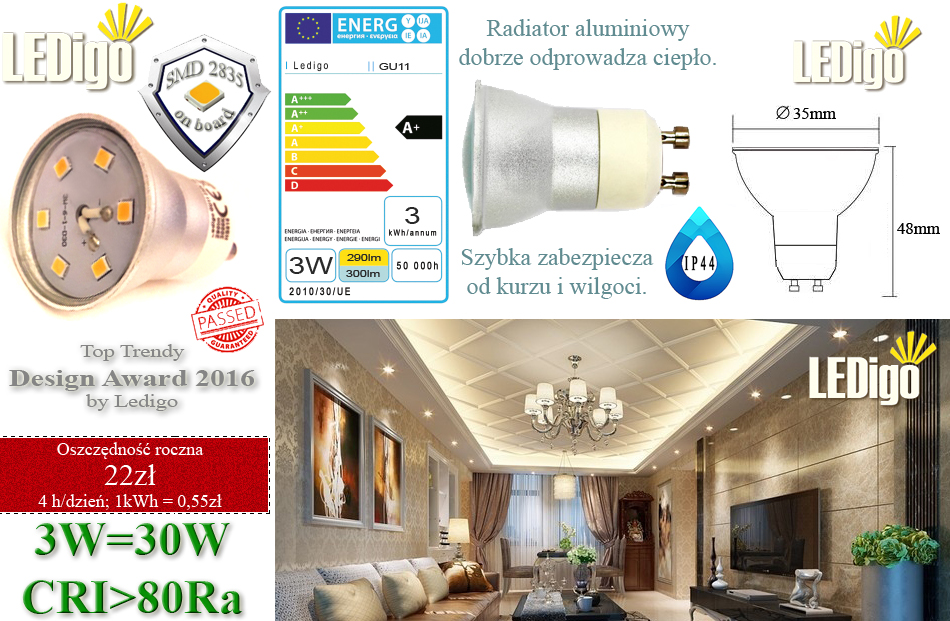 Żarówka LED Ledigo GU10 GU11 GU5.3 3W, 4W jak 30W biała ciepła, jasna, mocna, najlepsza, warszawa, sklep, niska cena, super jakość, mała 35mm, średnica 35mm, 3,5cm