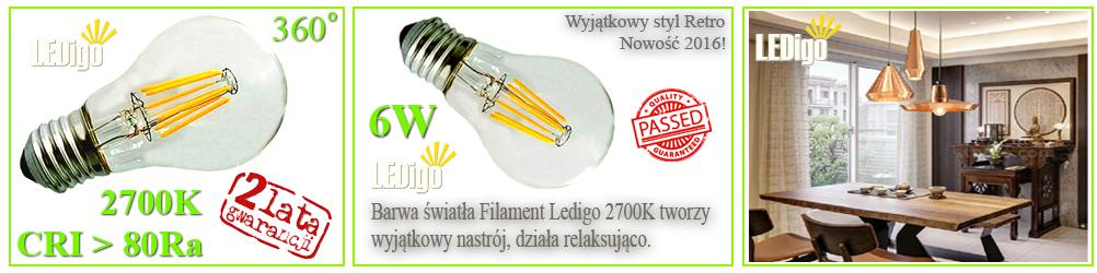 Żarówka LED Ledigo 6W biała ciepła FILAMENT retro vintage styl, 2700K